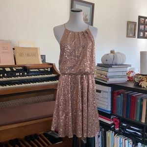 may & july Champagne Sequined Blouson Dress, L